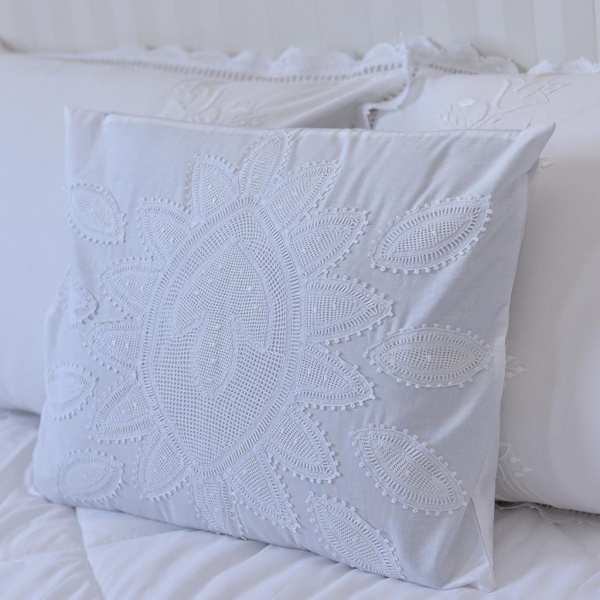 White Cotton Lace  Cushion Cover