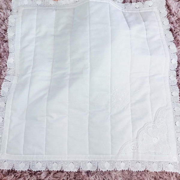 White Quilted Baby Blanket Hand Embroidered